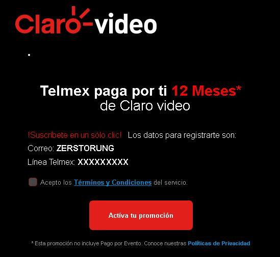 Clarovideo | Telmex paga por ti 12 Meses - Paquete $389