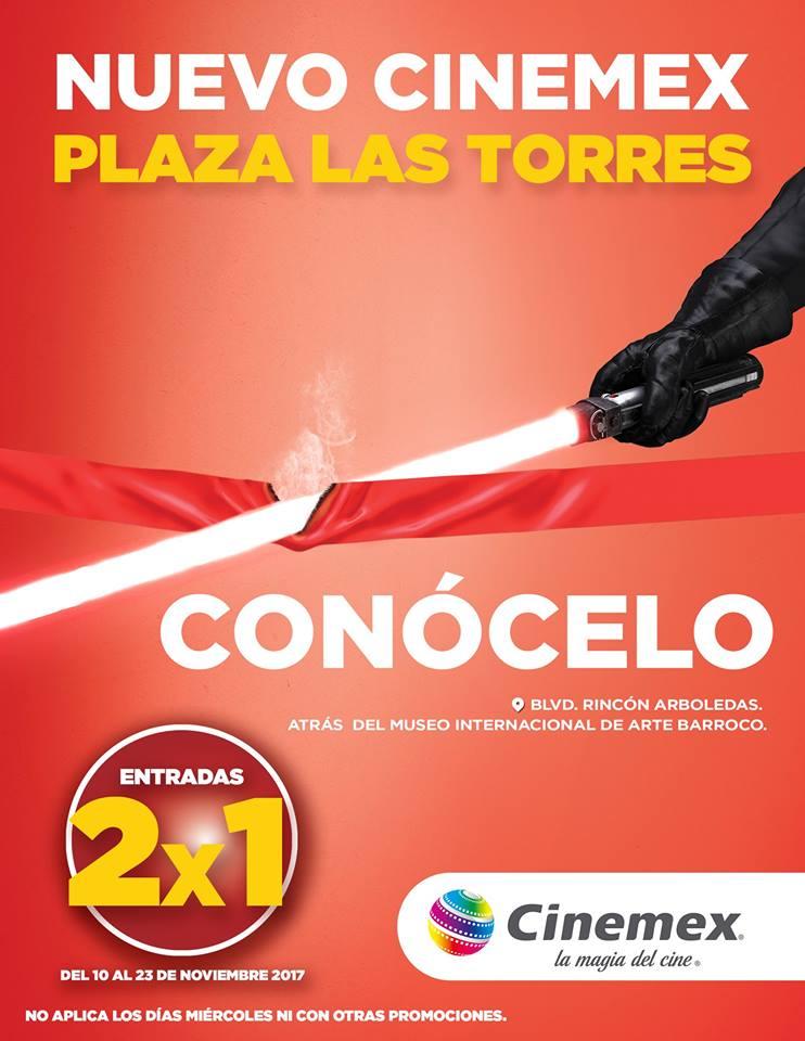 Cinemex Puebla: 2x1 por Apertura de nuevo cine en Plaza Las Torres.
