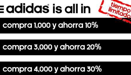 Adidas.mx: descuentos del 10 al 30% en todo con compra mínima
