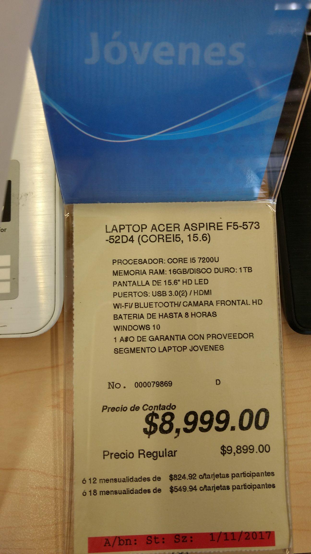 Office Depot: Laptop Acer Core i5 7a generación y más