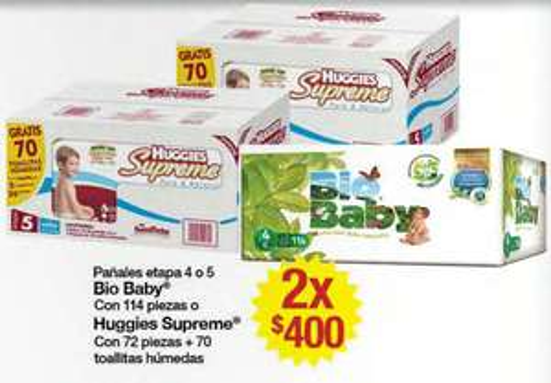 Superama: 144 pañales Huggies Supreme + 140 toallitas o 228 pañales Bio Baby $400