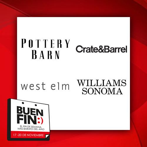 Ofertas del Buen Fin 2017 en Crate & Barrel, Pottery Barn, West Elm y Williams Sonoma