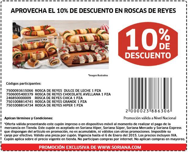 Soriana. Cupon 10% de Descuento en Roscas de Reyes