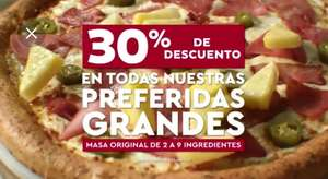 Dominos App: Preferidas, Pizza Grande con 30% off