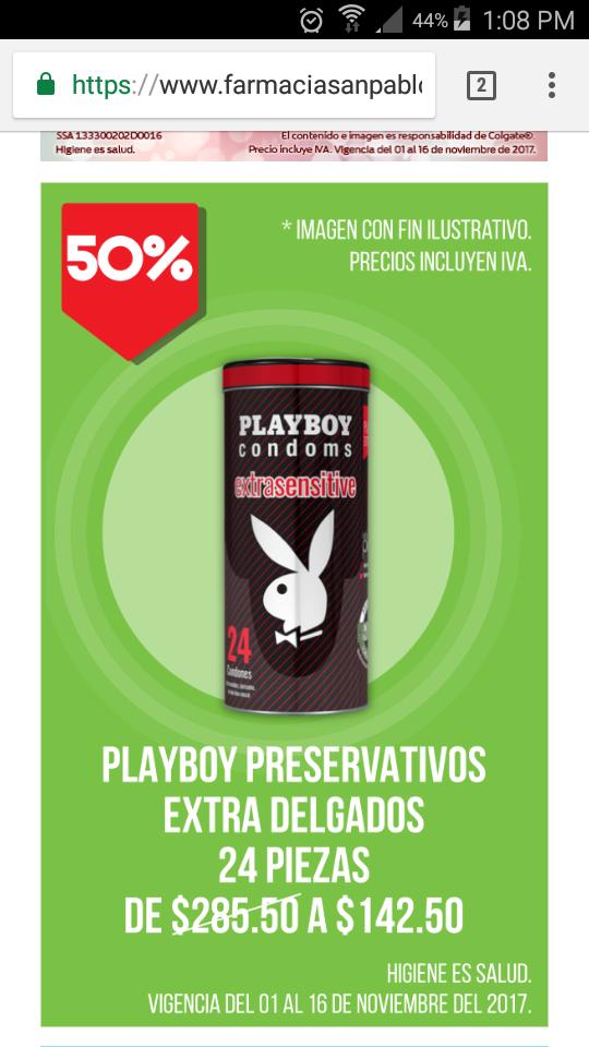 Farmacia San Pablo: condones playboy ultrasensibles 50% de descuento