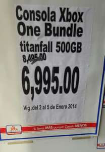 Chedraui: Xbox one bundle titanfall con Kinect $6,995