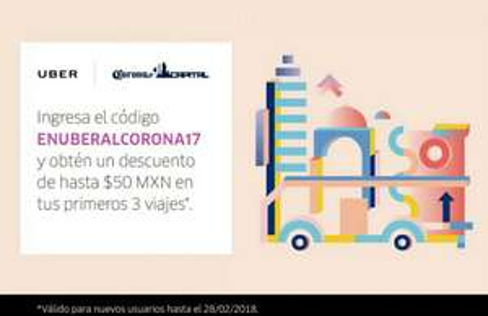 Uber: codigo Corona Capital de -$50 para tus primeros 3 viajes