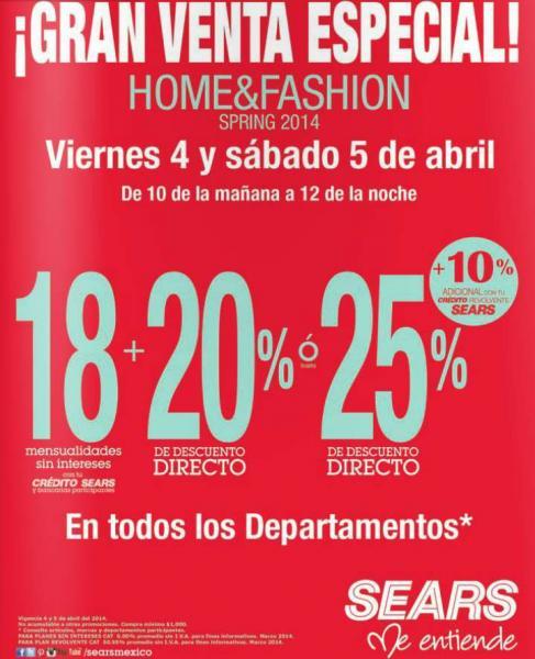 Sears: gran venta especial home & fashion 4 y 5 de abril