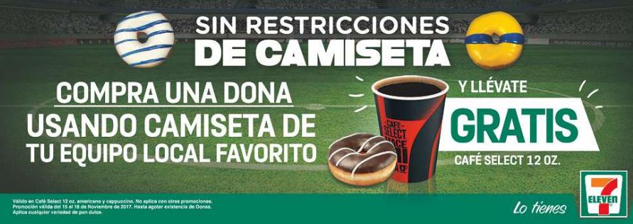 Ofertas Pre Buen Fin 2017 en 7 Eleven: café gratis comprando dona con camisa de fútbol
