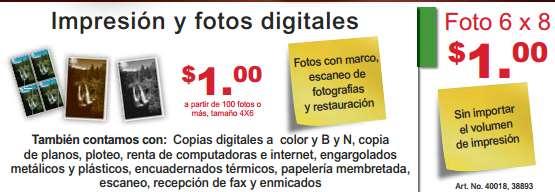 """Office Depot: ampliaciones 6x8"""" a $1"""