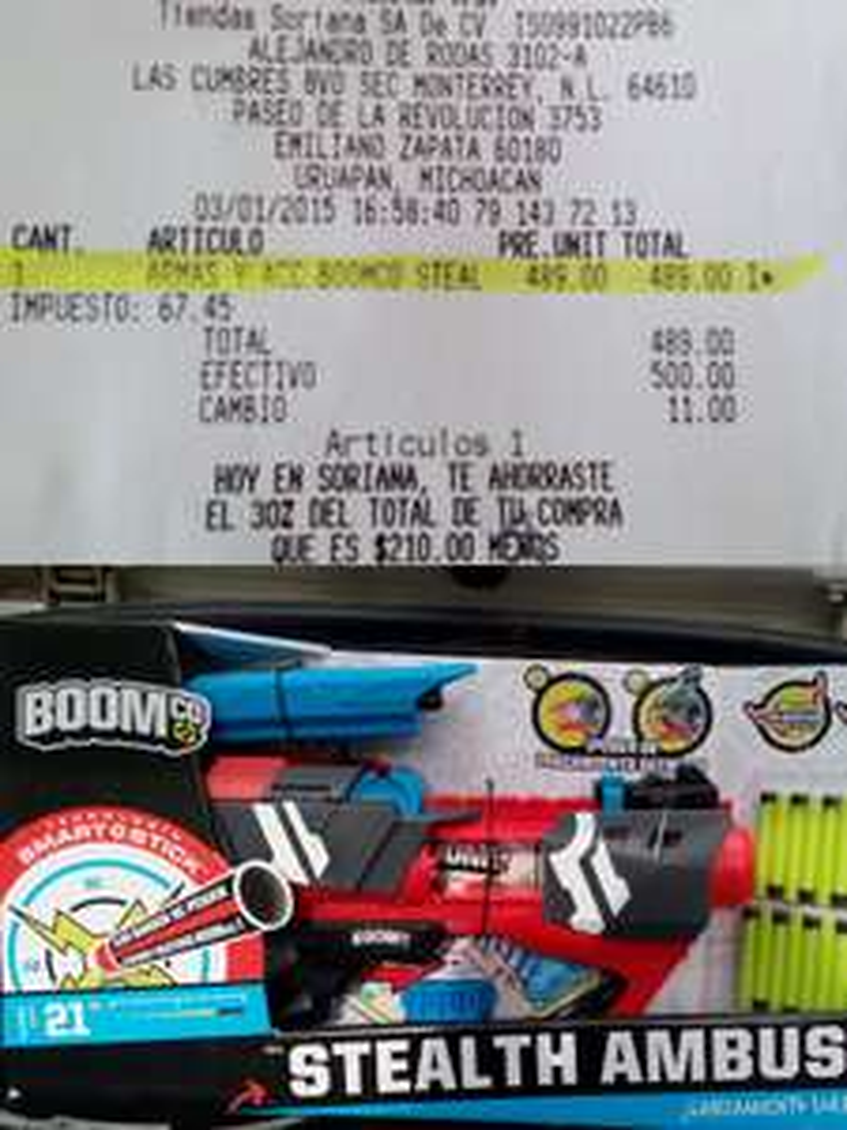 Soriana Hiper: descuento en juguetes importados (pistola boom co steal $489)