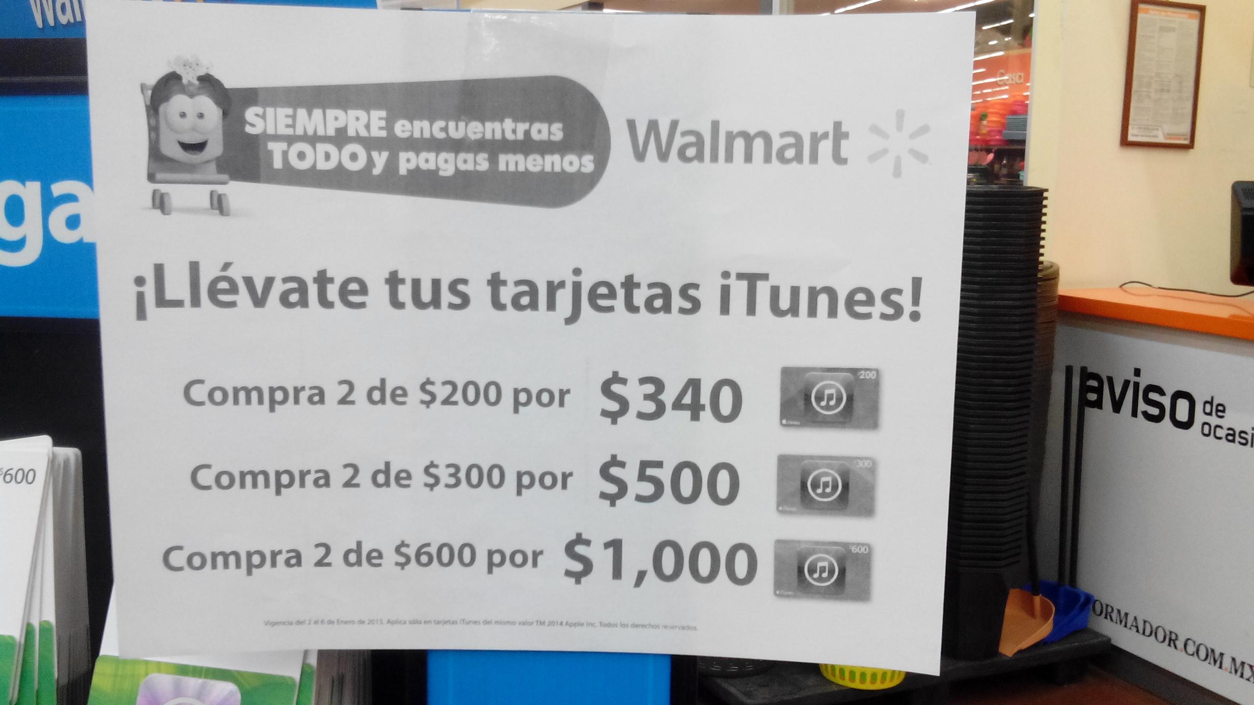 Walmart 15% de descuento aprox. en dos tarjetas iTunes