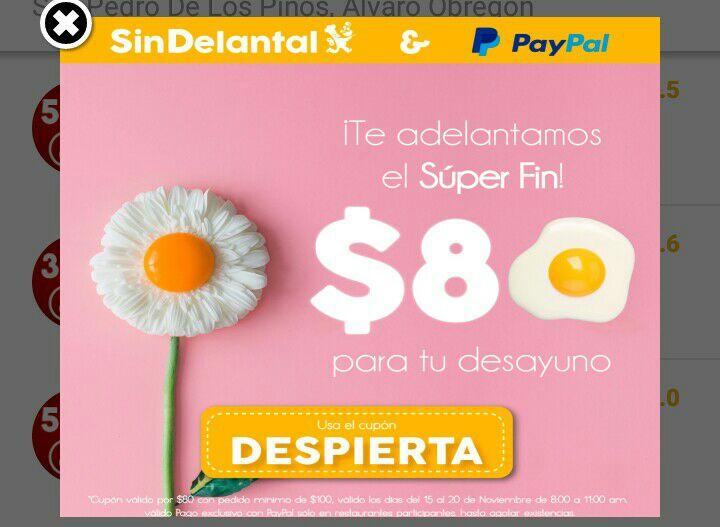 Sin Delantal: Descuento de $80 en pedido de $100 pagando con Paypal de 8 a 11hrs