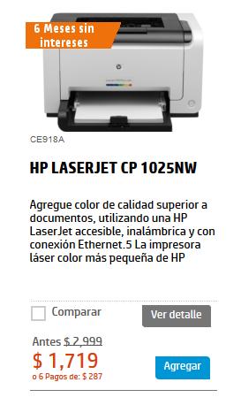 Tienda HP: impresora láser HP LASERJET CP 1025NW $1,719