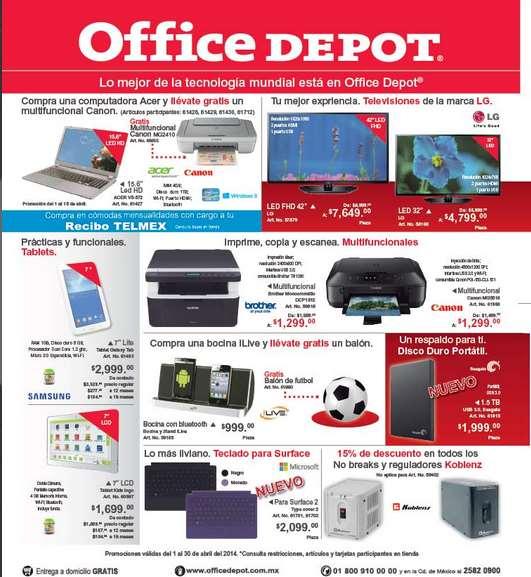 Folleto de ofertas en Office Depot abril 2014