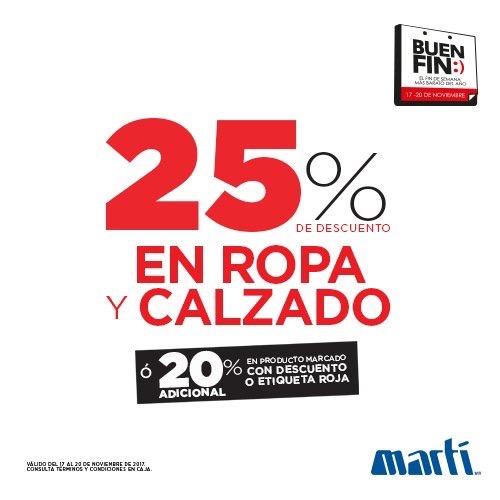 Ofertas El Buen Fin 2017: Martí 25% en ropa y calzado