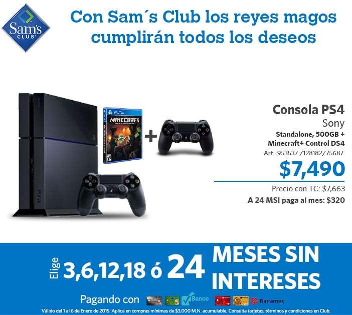 Sam's Club: PS4 con Minecraft y control extra $7,490 ($7,265 y 24 MSI con Banco Walmart)