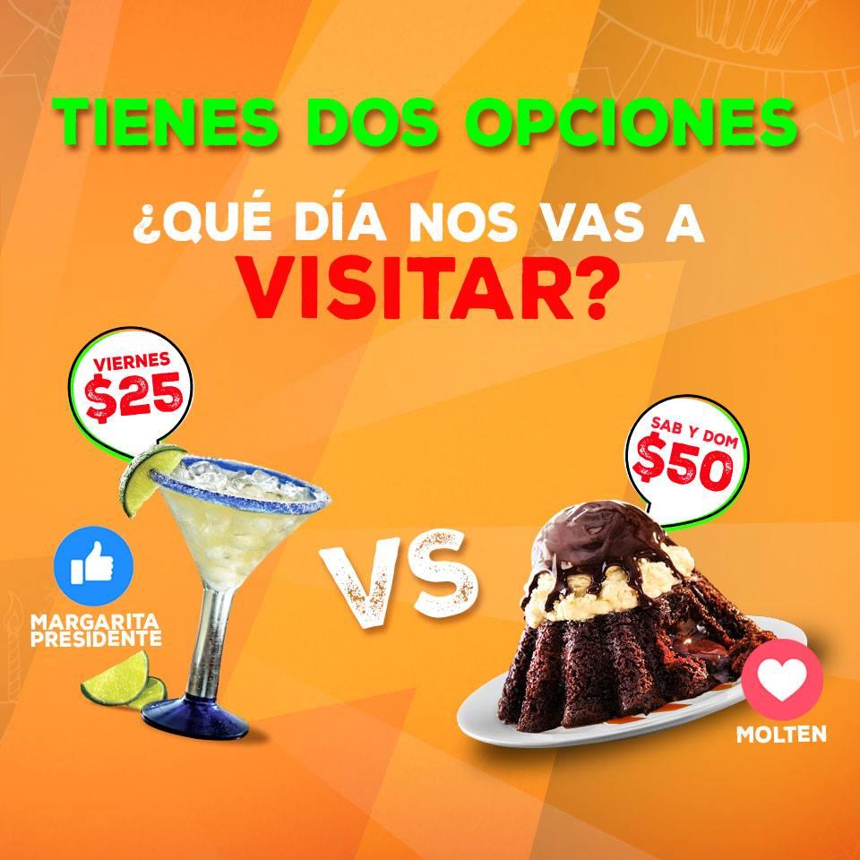 Promoción aniversario Chili's: margarita $25 ó postre molten $50
