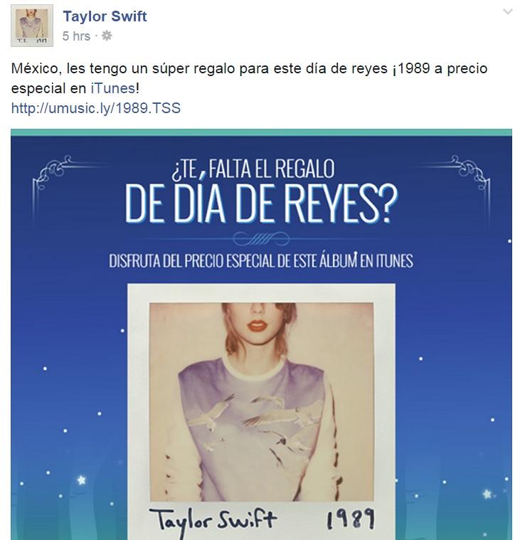 iTunes: Disco de Taylor Swift (1989) a $80 pesos.