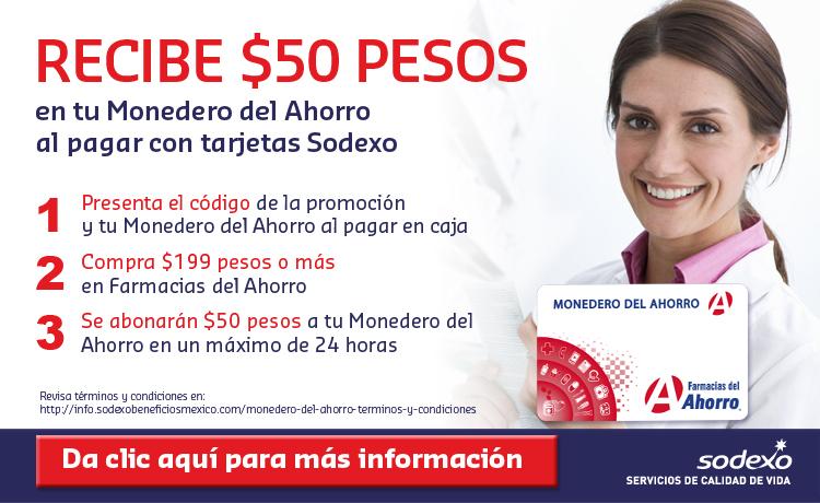 Farmacias del Ahorro y Sodexo: happi Club $50 pesos en monedero al pagar con tarjetas Sodexo
