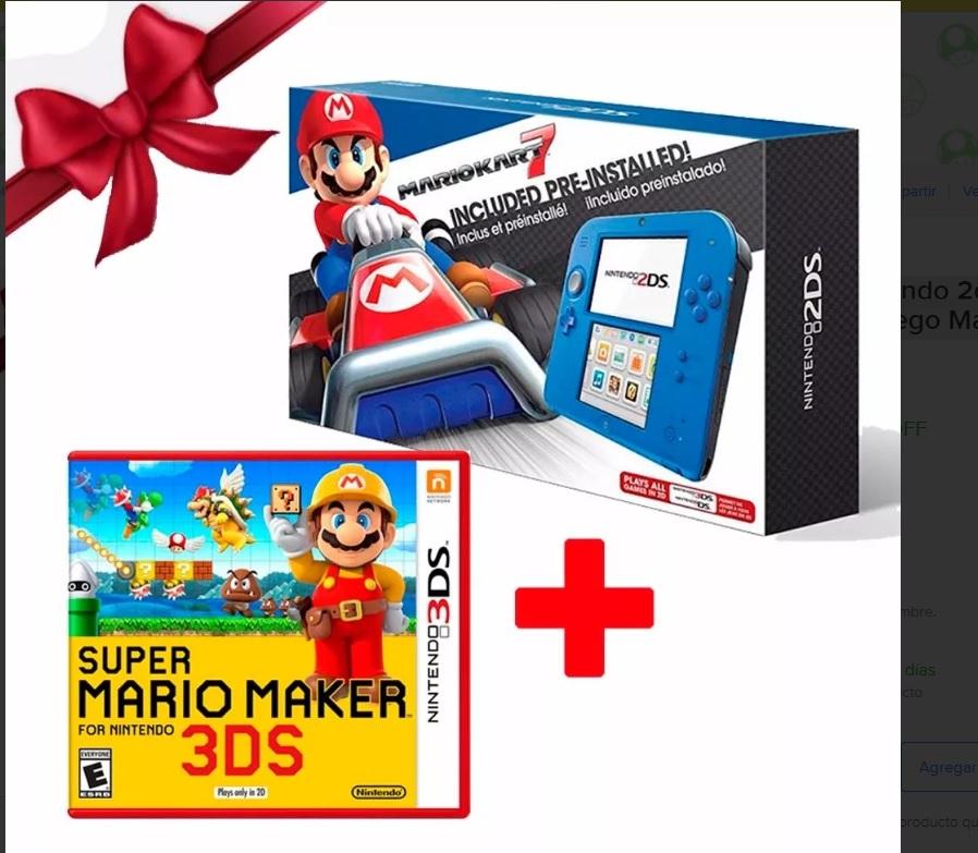 Nintendo Tienda Oficial Mercado Libre:Kit Consola Nintendo 2ds Mario Kart 7 + Juego Mario Maker