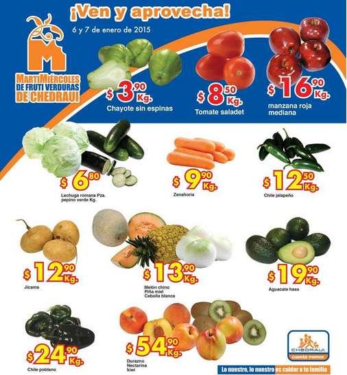 Ofertas de frutas y verduras en Chedraui 6 y 7 de enero