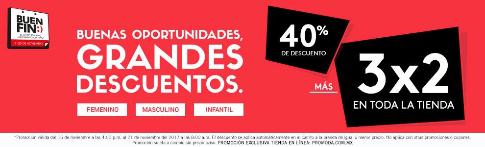 Ofertas Buen Fin 2017 Promoda: hasta 40% de descuento y 3x2