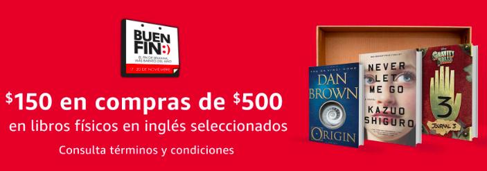 Buen Fin 2017 en Amazon: $150 de descuento al comprar $500 en libros