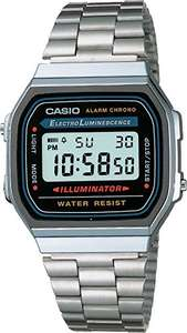 Amazon: Casio Retro A168WA-1Q Reloj Unisex Cuadrado, Digital, color Gris y Plata