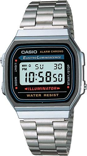 Amazon: Casio Retro A168WA-1Q Reloj Unisex Cuadrado, Digital, color Gris y Plata