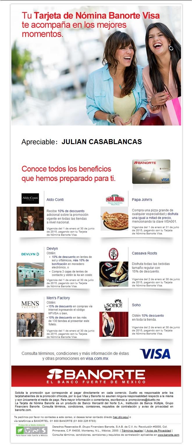 Promociones com Tarjeta de Nómina Banorte Visa (varias tiendas)