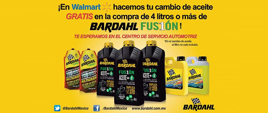 Walmart: cambio de aceite gratis en la compra de 4 litros de aceite Bardhal Fusión