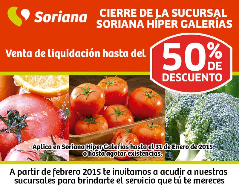 Liquidación Soriana Monterrey Galerias (cierre de sucursal)