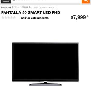 "Ofertas del buen fin Home Depot: pantalla philliphs 50"" smart"