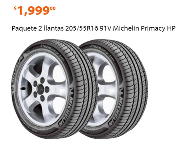Ofertas Buen Fin 2017 Walmart: 2 llantas 205/55R16 91V Michelin Primacy 3 sólo $1999
