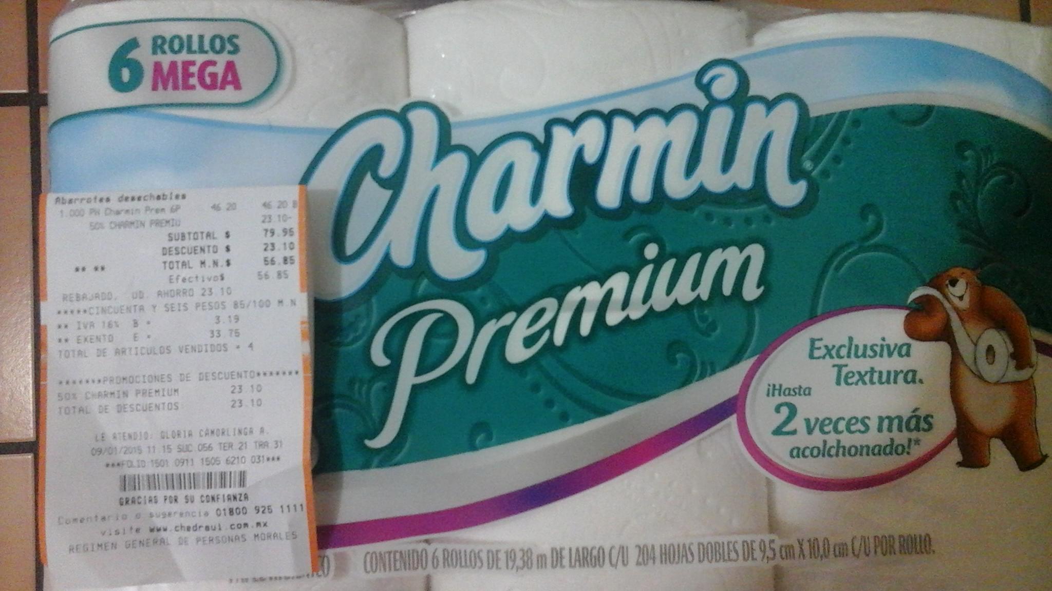 Chedraui: Papel Higienico  Charmin Premium con 50%