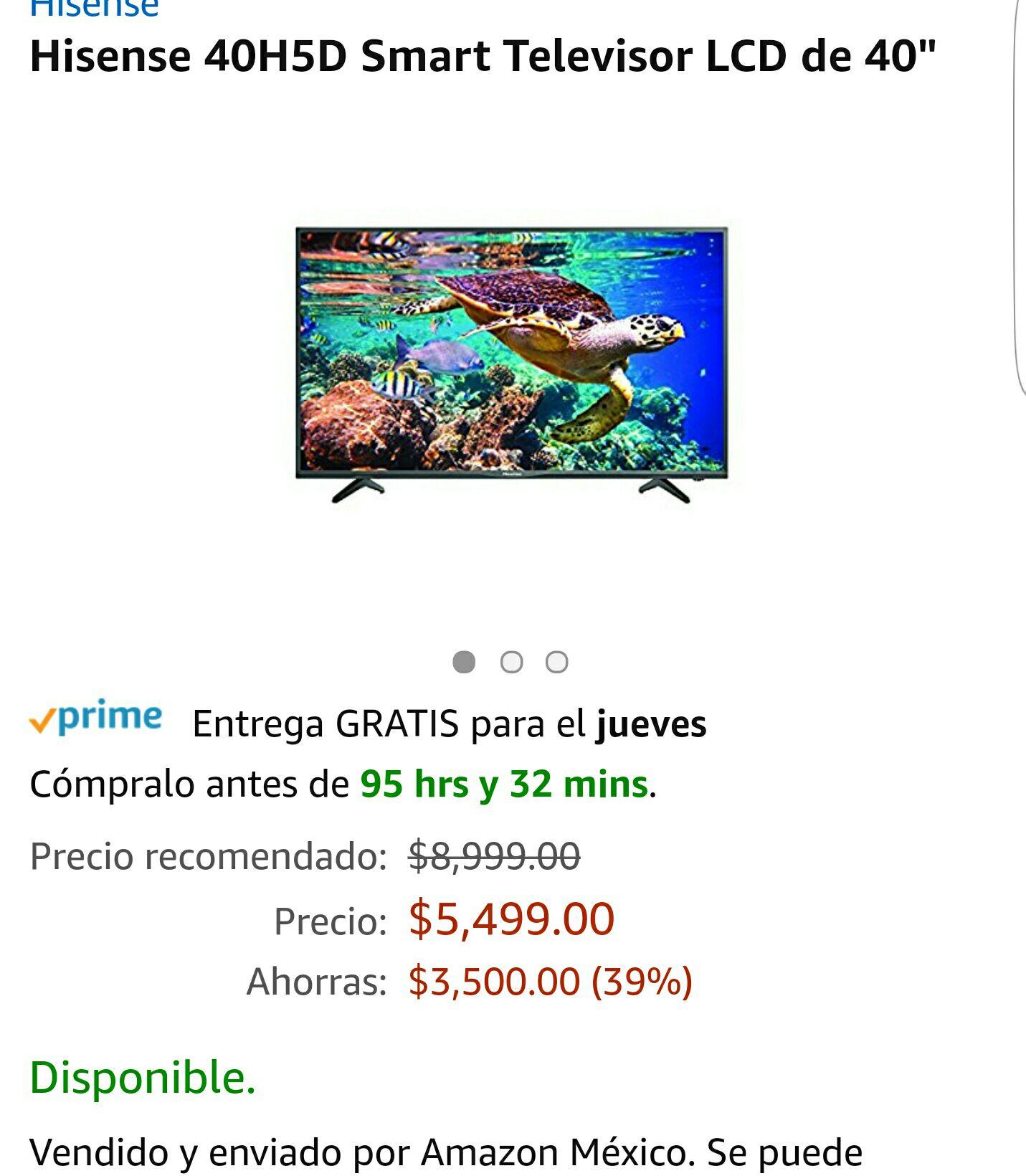 "Ofertas Buen Fin 2017 Amazon: Hisense de 40"" smart FHD 40H5D"