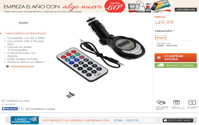 Linio: Transmisor FM en 50 pesos, envío gratis