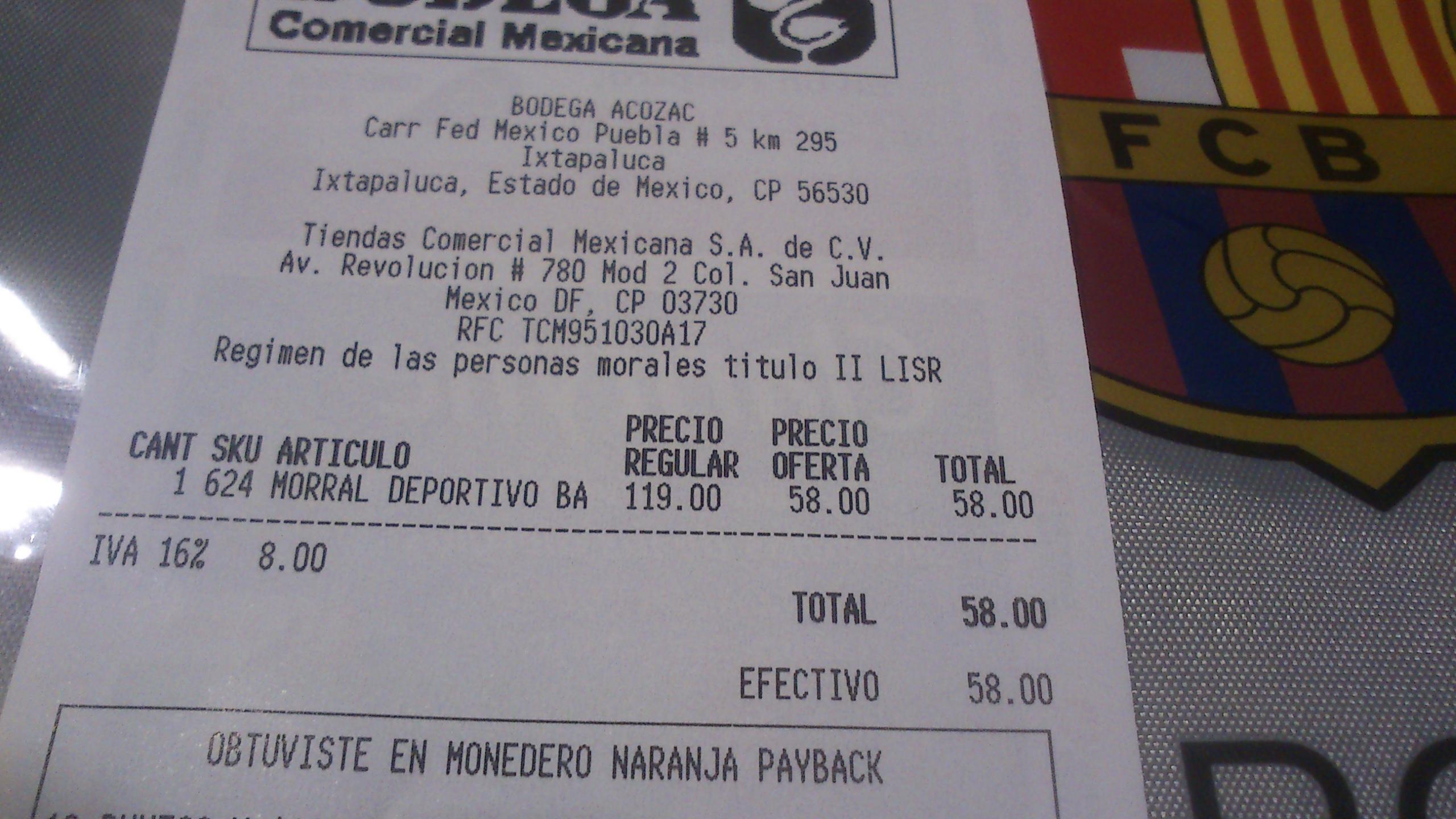 Comercial Mexicana: Morral Deportivo Barcelona o Manchester United $58