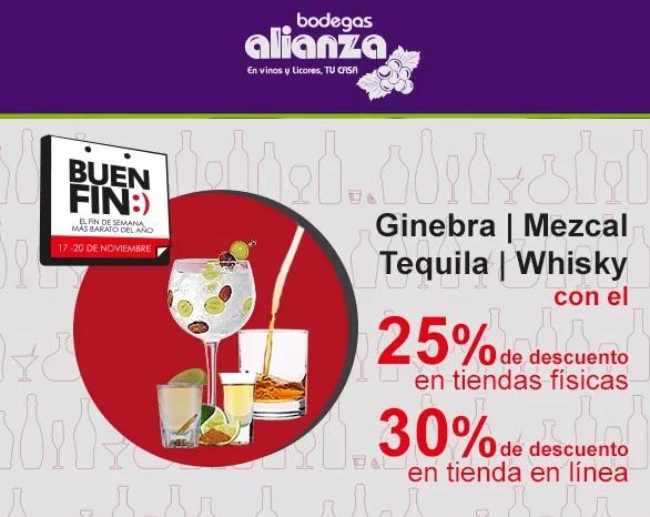 Buen Fin en Bodegas Alianza: 25% desc. en tiendas físicas ó 30% desc. en tienda en línea en Tequila, Whisky, Ginebra y Mezcal