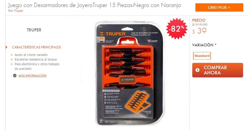 Linio: Juego de desarmadores para joyero /celulares Truper $39