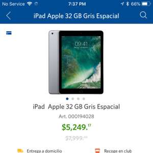 Apple iPad 2017 a $5249.17 o menos en Sam's Club (app)