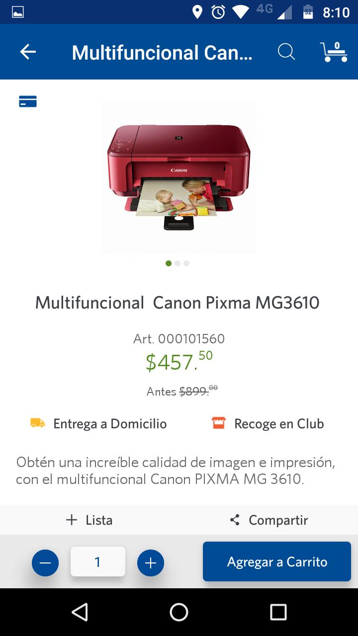 Sam's Club: Multifuncional Canon Pixma MG3610 a mitad de precio