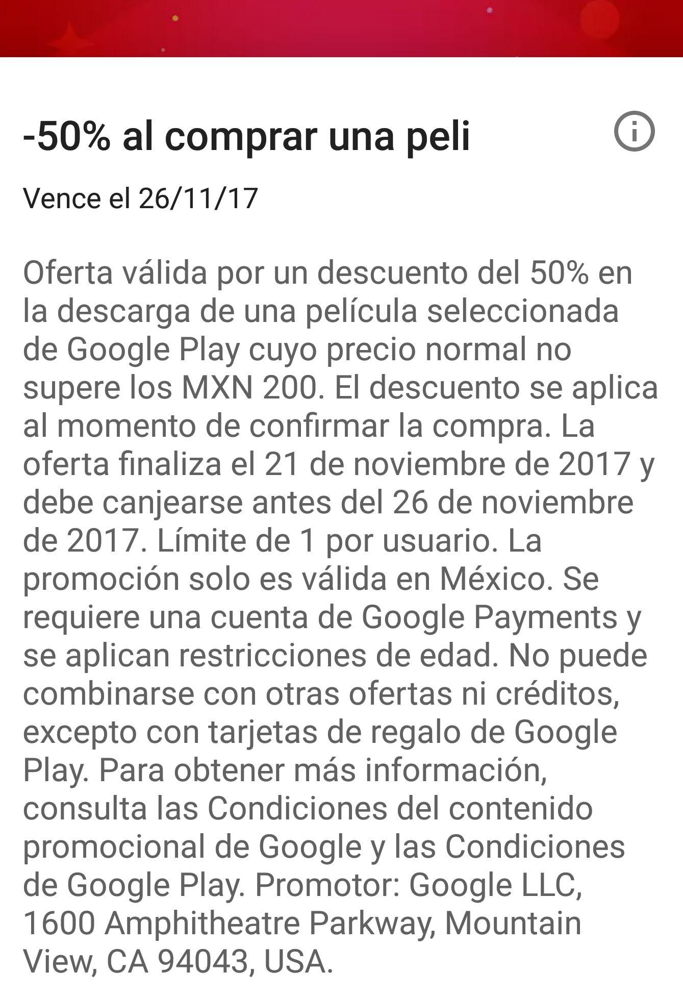 Google Play: 50% de descuenta al comprar una película de valor menos a $200 pesos