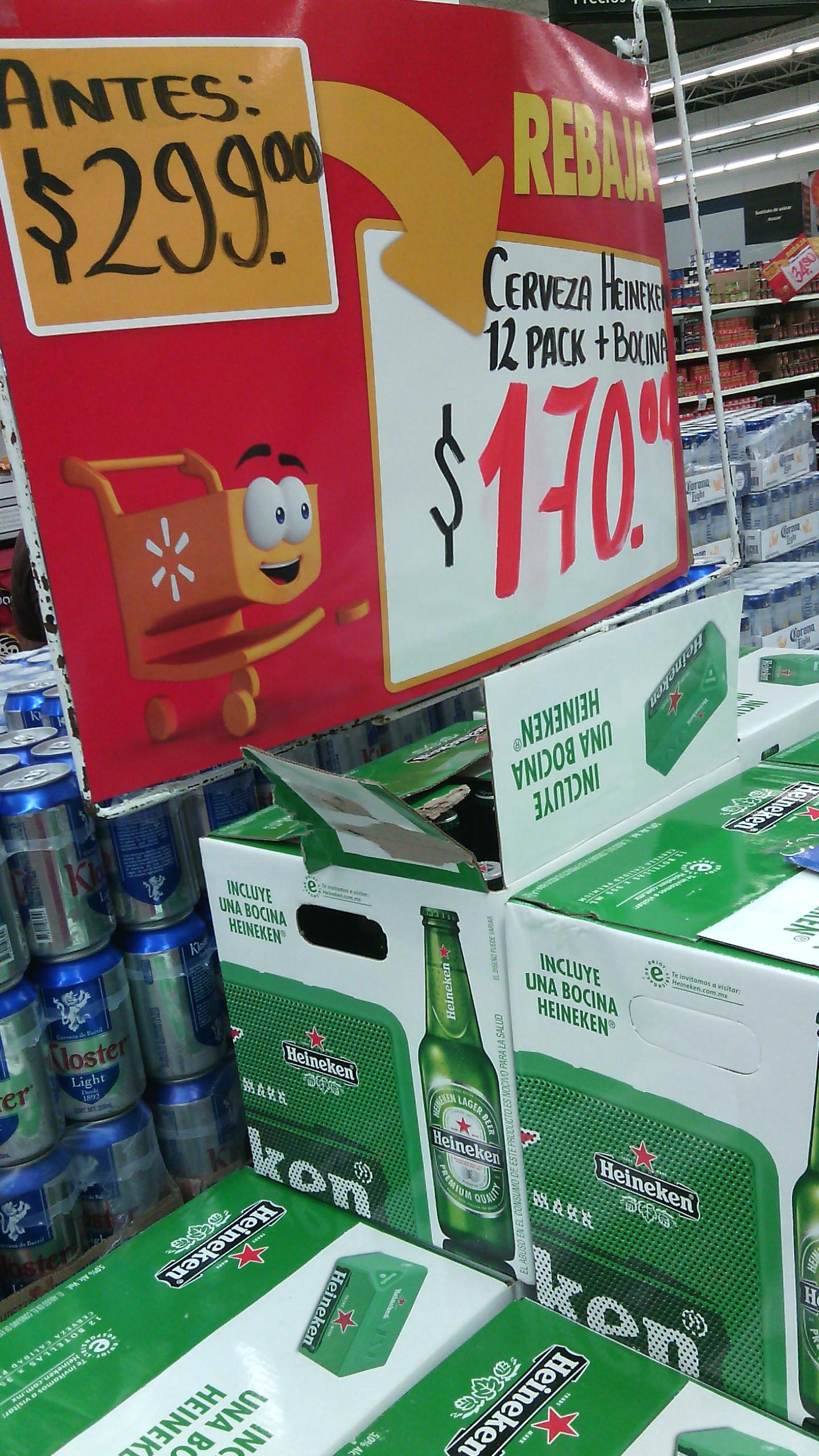 Walmart: 12 cervezas Heineken + bocina por $170