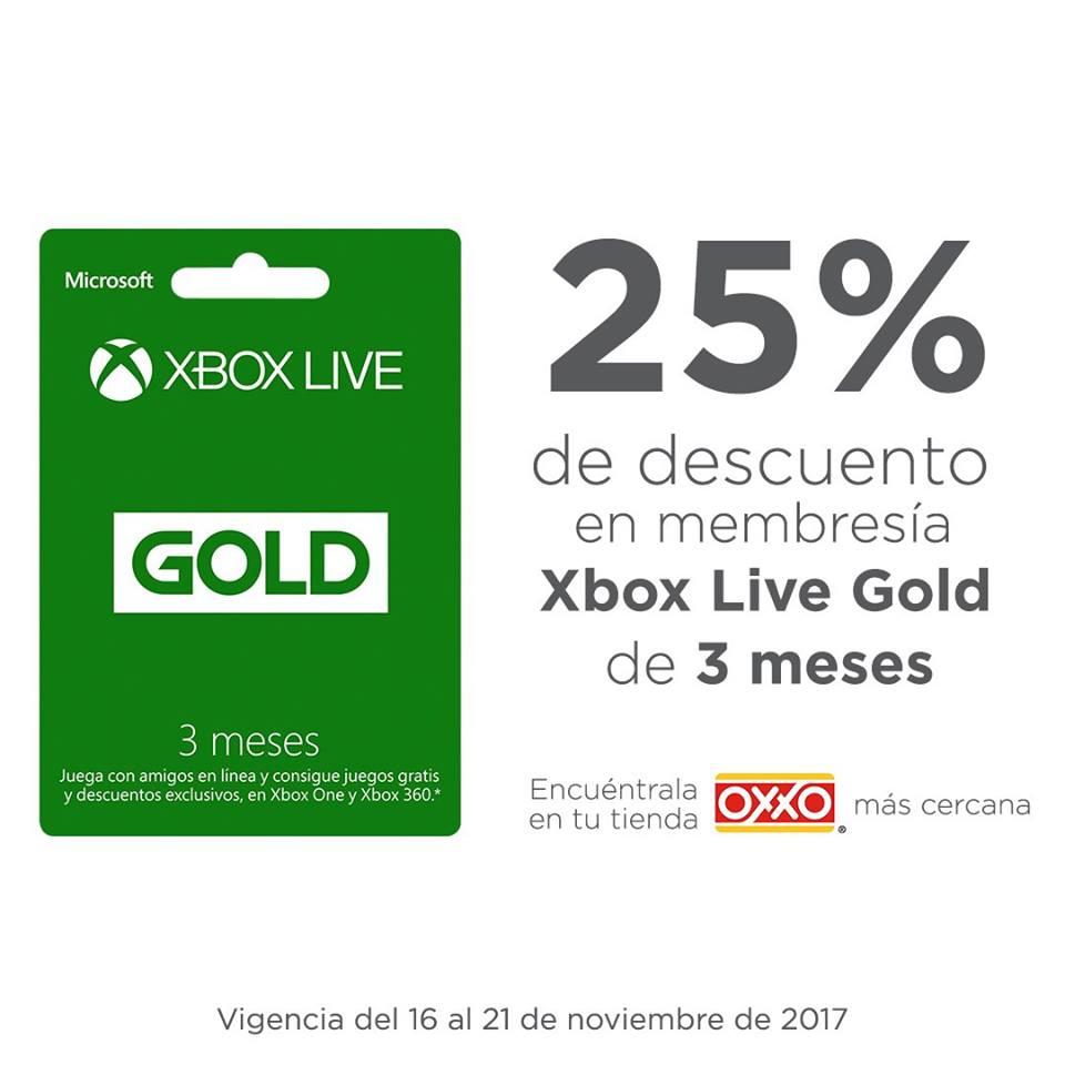 Oxxo: 25% de descuento en Xbox Live Gold de 3 meses