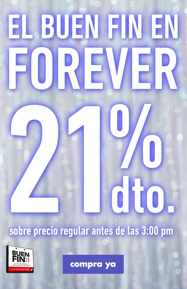 Forever 21: 21% de descuento en toda la tienda (tienda física) solo hoy 18 de Noviembre