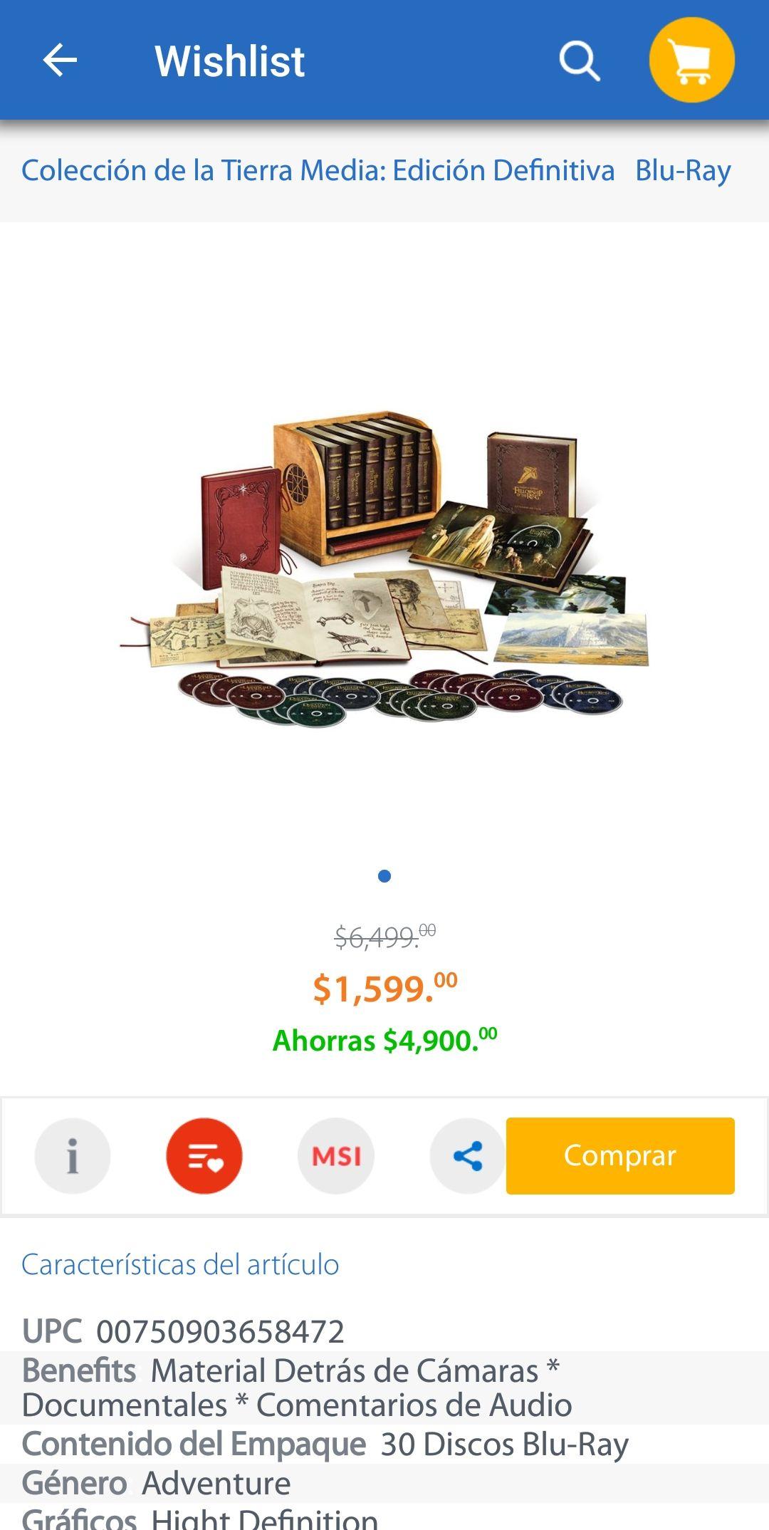 Buen Fin Walmart: Colección de la Tierra Media Edición Definitiva Blu-Ray de $6,499 a $1,599