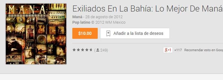 Google Play; Exiliados En La Bahía: Lo Mejor De Maná