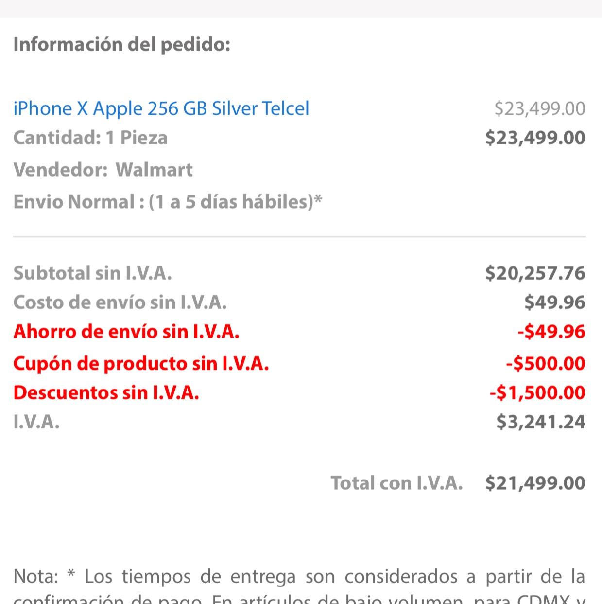 Buen Fin 2017 Walmart: Iphone X 256 GB Telcel